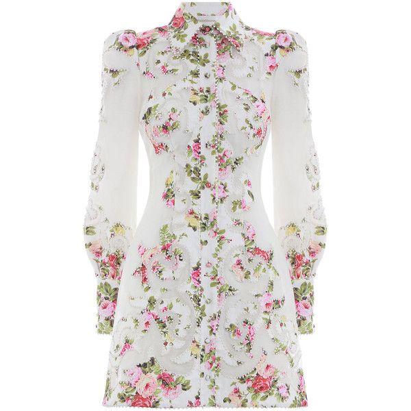 ZIMMERMANN Radiate Applique Shirt Dress (€1.755) ❤ liked on Polyvore featuring dresses, holiday dresses, special occasion dresses, long-sleeve floral dresses, mini cocktail dresses and shirt dress