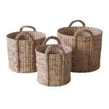 Water Hyacinth Log Basket 3 Piece Set