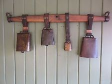 ANTIQUE FARM COW,SHEEP,GOAT 4 HANDFORGED STEEL BELLS ON WOOD HORSE HARNESS YOKE