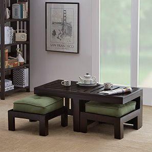 Kafano Coffee Table Set (Ebony Finish, Green)