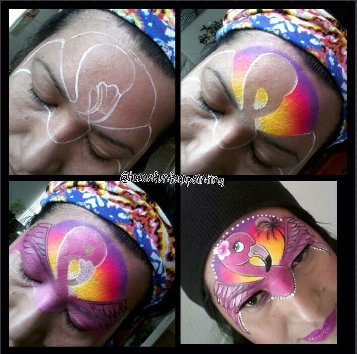 303 best face paint birds feather ideas images on for Flamingo feather paint