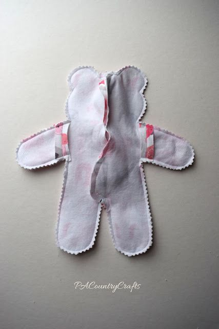 sew front and back of bear together