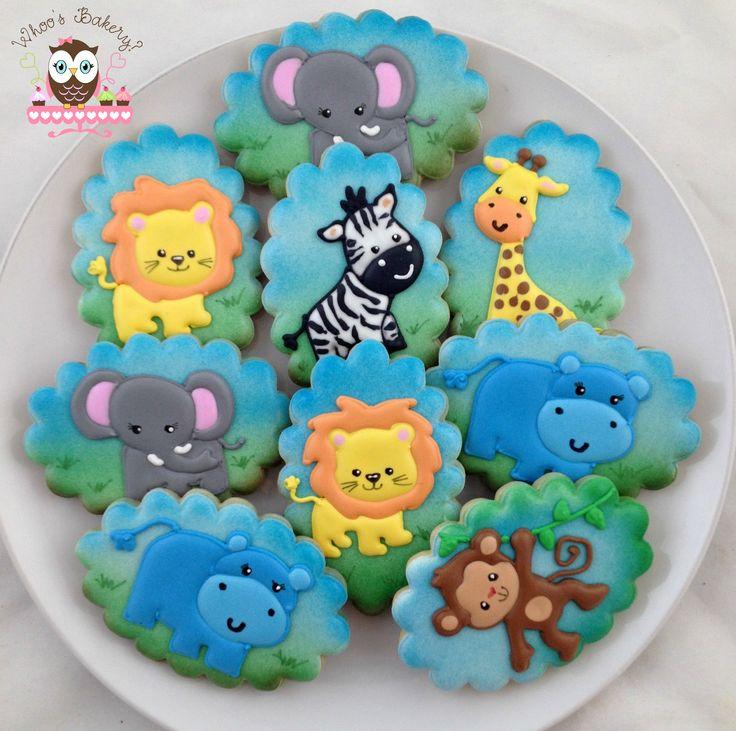 Safari Cookies, Safari Party, Elephant cookies, lion cookies, hippo cookies, monkey cookies, giraffe cookies, zebra cookies, zoo party