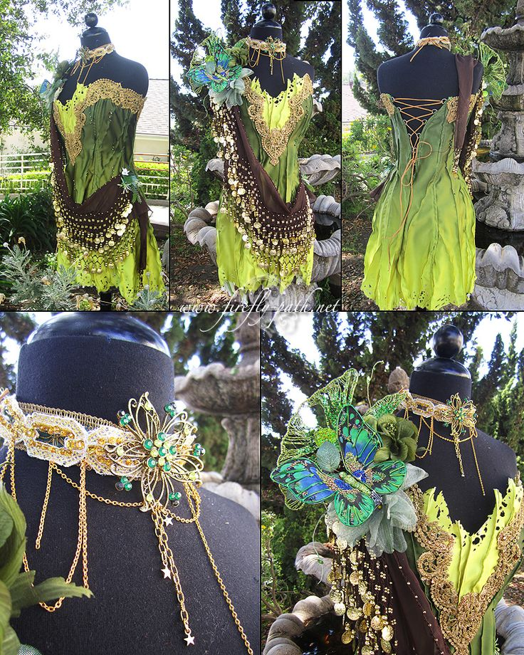 """absinthe fairy costume"" by lilllzxandra  - lime and forest green dress with gold lace and beads and brown gypsy scarf"