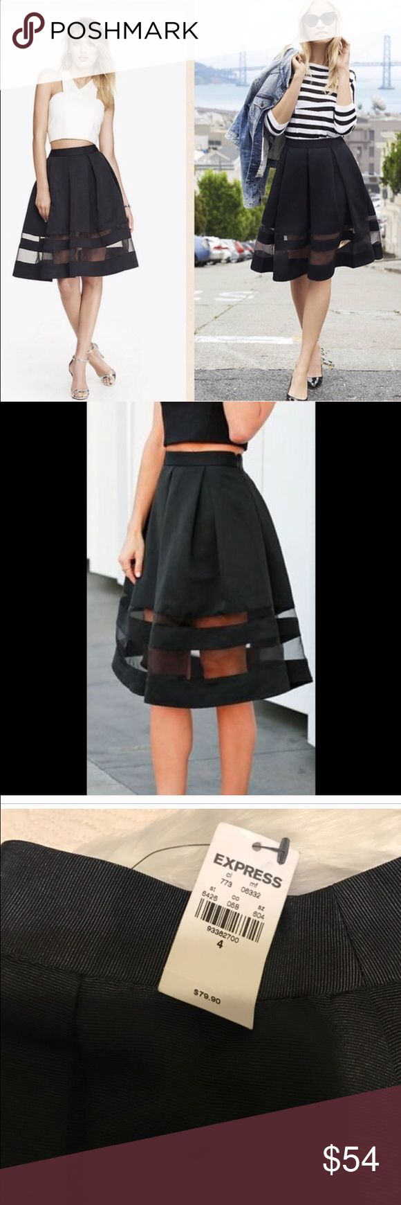 New with Tags Express skirt, sz 4 New with Tags Express black midi skirt. Just purchased through Poshmark for my 30th birthday dinner outfit, but it isn't quite the jaw dropping affect I'm looking for! Mint condition, brand new with Tags. I purchased for $47, looking to recover the $47 and the $6.95 I spent in shipping. Express Skirts Midi