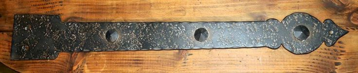 Tudor Revival Iron Hinge Strap HHS-329 in distressed texture antique finish