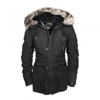 Khujo coated vintage jacke in schwarz