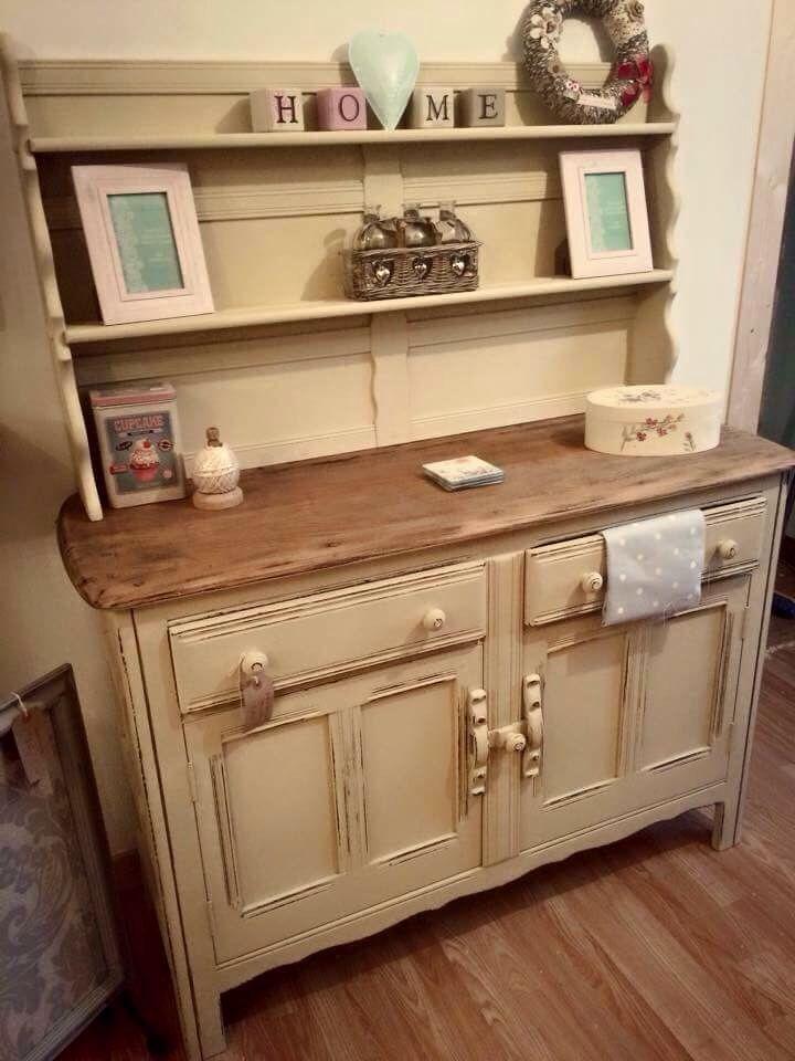 Vintage Kitchen Dresser Painted Cream Refinishing