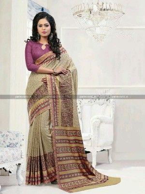 Beige N Purple Pashmina Printed Casual Saree