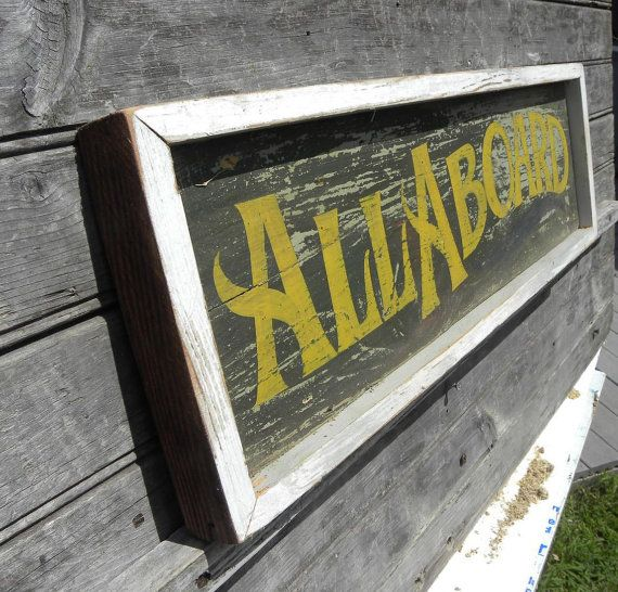 Train style Sign,all Aboard, original art, hand painted faux' vintage wooden sign,reclaimed wood,hand painted on Etsy, $48.00