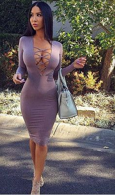 Sexy Plunging Neck Long Sleeve Purple Low-Cut Lace-Up ...