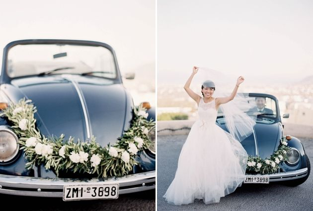 Vintage car for transporting bride & groom in Santorini - by Stella & Moscha - Photo by Jen Huang