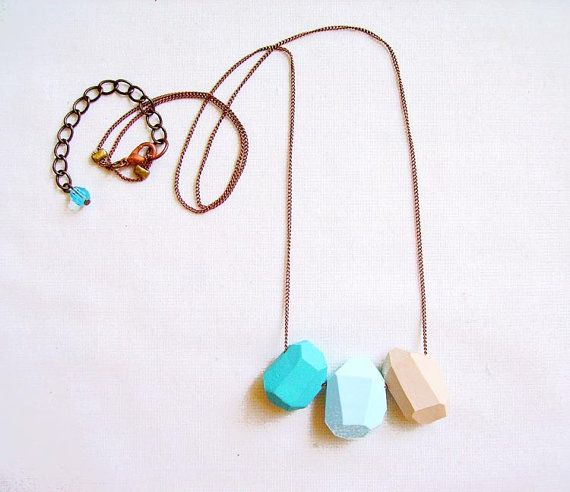 Turquoise Blue Geometric Necklace  Pastel Ombre  by AlinaandT, $21.00