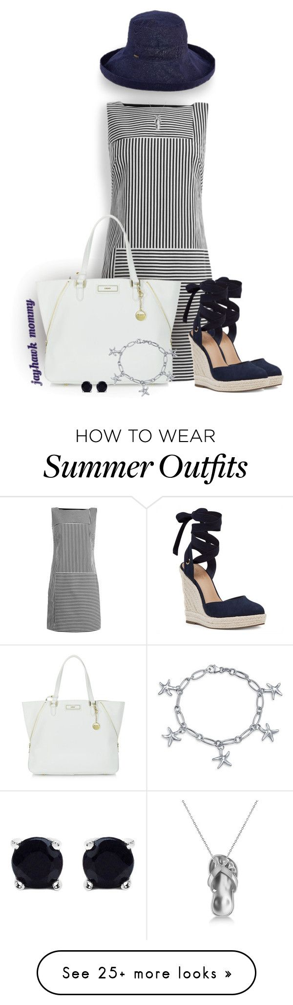 """Cape Cod Summer"" by jayhawkmommy on Polyvore featuring Maryling, Nine West, DKNY, Scala, Allurez, Bling Jewelry and Malaika"
