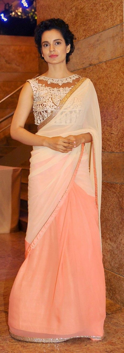 Kangana Renault in a simple peach and offwhite saree with beautiful sarie blouse