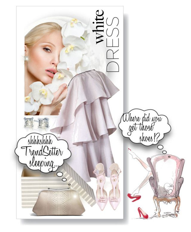 White Dress Styling by betiboop8 on Polyvore featuring Lanvin, Sophia Webster and Asprey