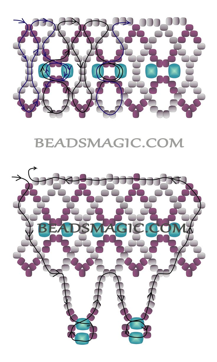 Free pattern for necklace Trouvaille  - 2 -  Beads Magic. U need Seed beads 11/0 + Faceted Crystal beads 4-6 mm.