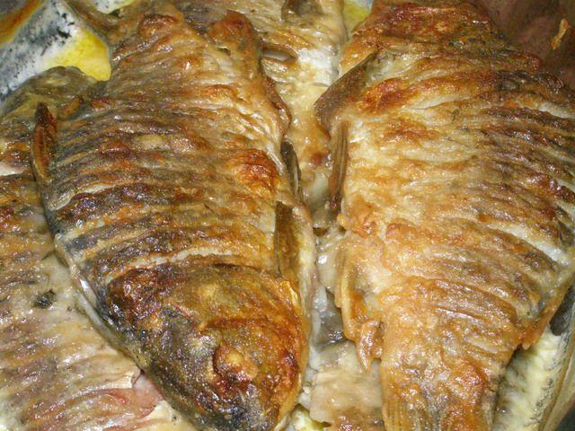 Караси томленные в сметане  Караси-2 кг  Сметана-1 л  соль,перец по вкусу