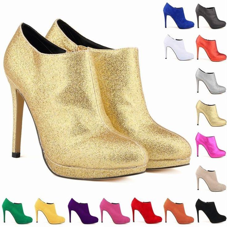 FASHION PLATFORM HIGH HEELS LADIES WOMENS CASUAL ANKLE BOOTS SHOES SIZE UK2-9 #Loslandifen #CourtShoes