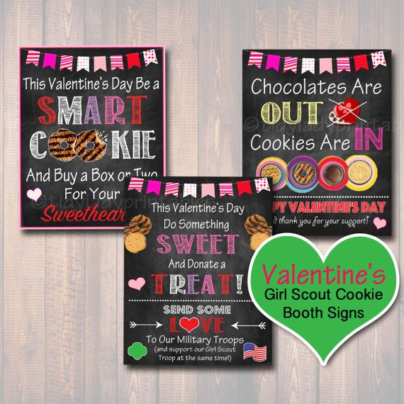 Valentine's Girl Scout Cookie Booth Signs by TidyLadyPrintables