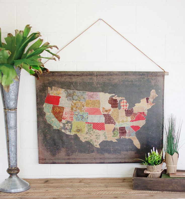 USA Patchwork Print Map Banner 556 best