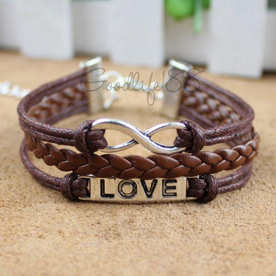 Love bracelet, infinity bracelet, karma bracelet, leather rope bracelet best gift for friends. $6.99, via Etsy.