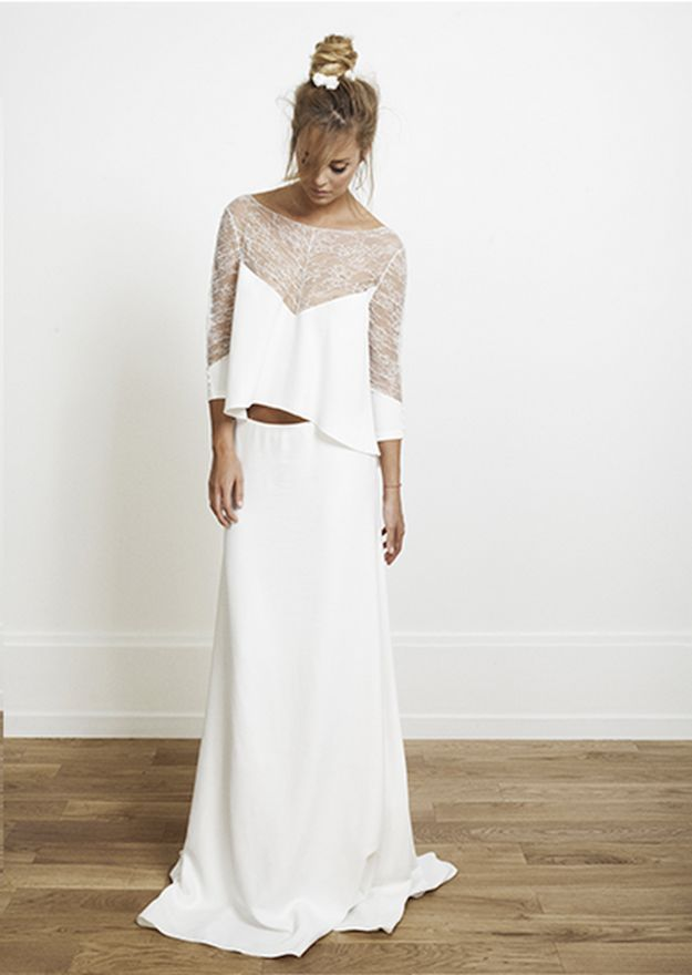 This super-comfy long-sleeve Rime Arodaky gown. | 21 Completely Stunning Crop Top Wedding Gowns