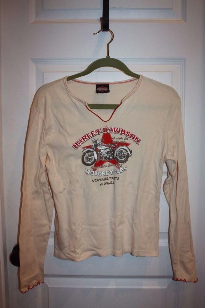 Women's Harley Davidson Long Sleeved Knit Shirt - Size XL - Cream Color - EUC! #HarleyDavidson #KnitTop