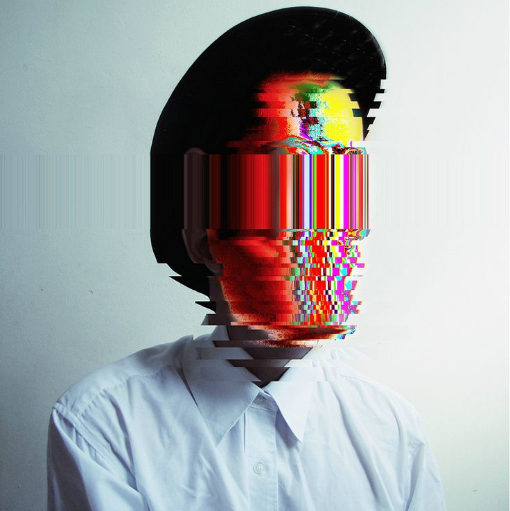 This glitch art is very visually striking as the human face is no longer…