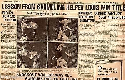 JOE LOUIS & SCHMELING BOXING MATCHES ANTIQUE NEWSPAPER PAGE POSTER PRINT 1937