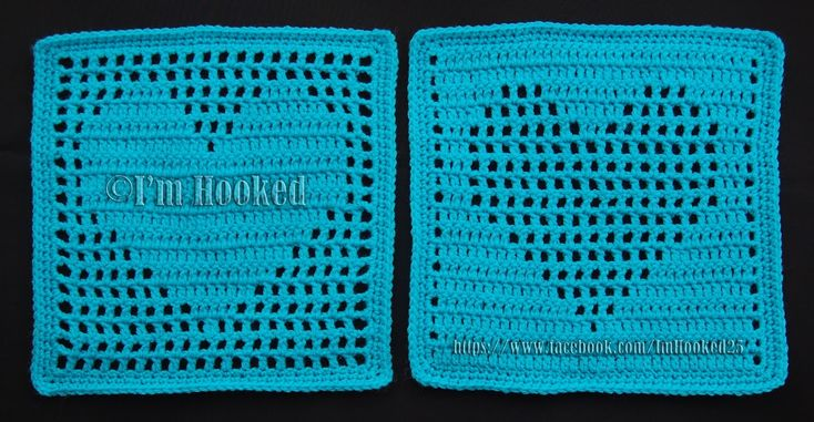 Heart Filet blocks, free patterns by Belle of I'm Hooked #crochet #square #motif