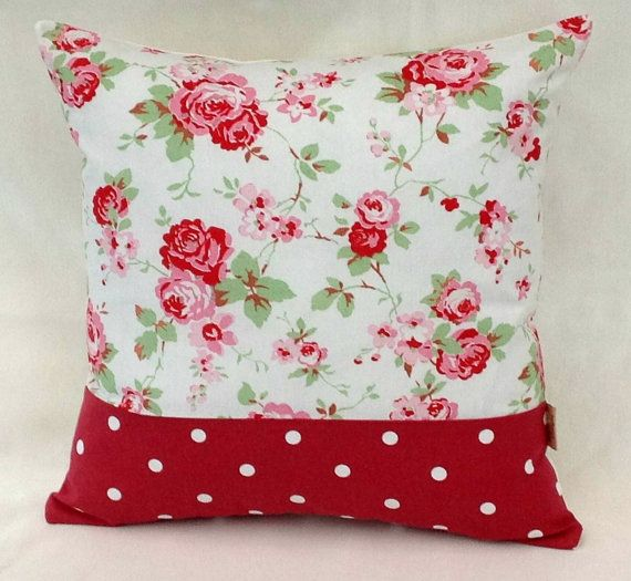 White Rosali Floral Red Dotty throw pillow by honeybeedesign20, £6.95