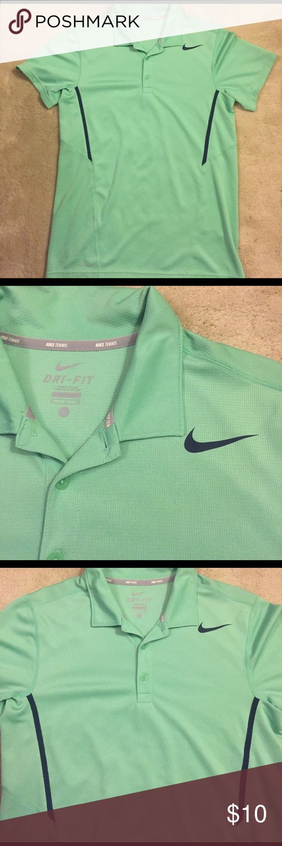 Nike Mint Green Short Sleeve Polo Nike Tennis polo. Mint green color with dark navy Nike swoosh and slimming side details. Size S. Nike Shirts Polos