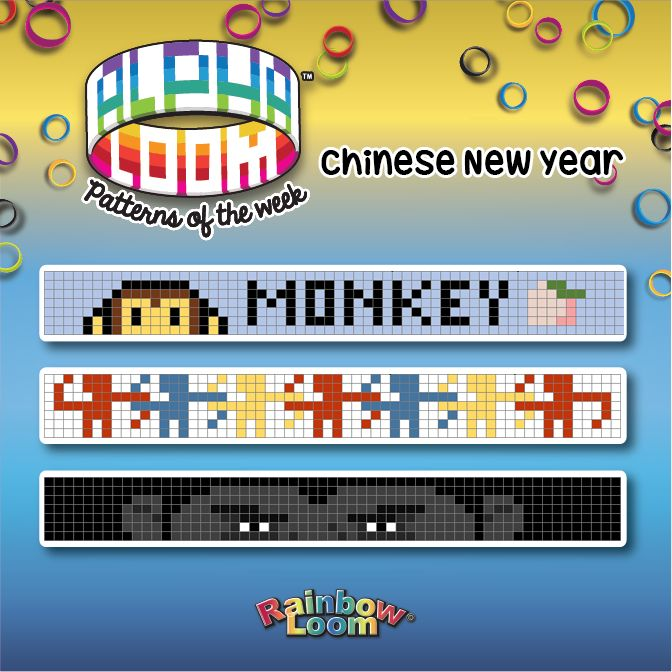 Alpha Loom Patterns of the Week: Year of the Monkey  The 2016 Chinese / Lunar year is the year of the Monkey. This year lunar new year falls on February 8, 2016. Here are the cool patterns of:  Monkey and peach,   Chained Monkeys from the game Barrel of Monkeys Game and   The Gorilla #AlphaLoomPatterns  #AlphaLoom #RainbowLoomCelebrates #rainbowloomholidays