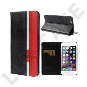 Trenter (Sort / Rød) iPhone 6 Plus Læder Flip Etui