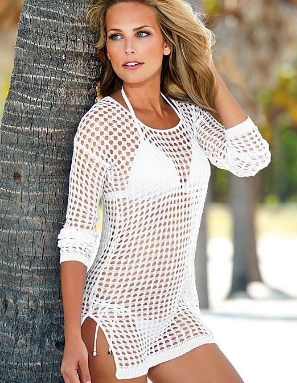 Cheap Malla Sexy Hollow Crochet Cover Up vestido 2015 mujeres de moda de manga larga de punto Cover Up Beach Tops, Compro Calidad Vestidos de Playa directamente de los surtidores de China: