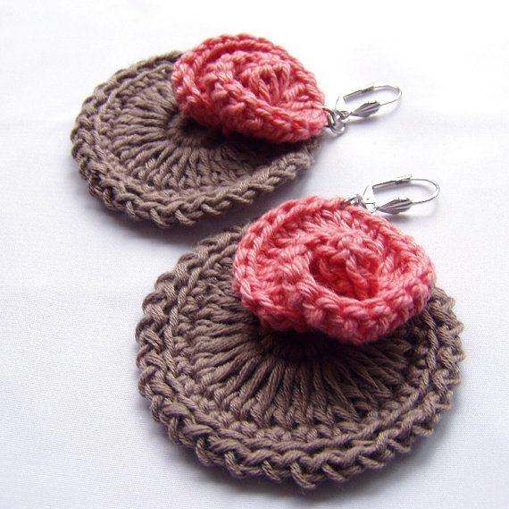 Hand crocheted Chabby chic Rose Earrings Big Crocheted Round. $17.00, via Etsy.