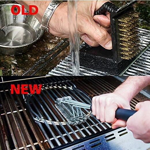 18 Inch BBQ Grill Brush STAINLESS STEEL - Barbecue Cleaning Brush - 3 BRUSHES IN 1 HIGH QUALITY STAINLESS STEEL BRISTLES - Easily Removes Food, Grease, and Debris from all type of Grill Grates without Scratching or Damaging the Surface 3 BRUSHES IN ONE - Clean The Same Area 5x Faster than with a Traditional Brush! Large Enough to Clean the Top, Bottom, and Sides of all Grill Grates. COMPATIBLE WITH ANY BBQ GRILL - Effective on All Types of Grills including Char Broil, Weber, Big Green Egg…