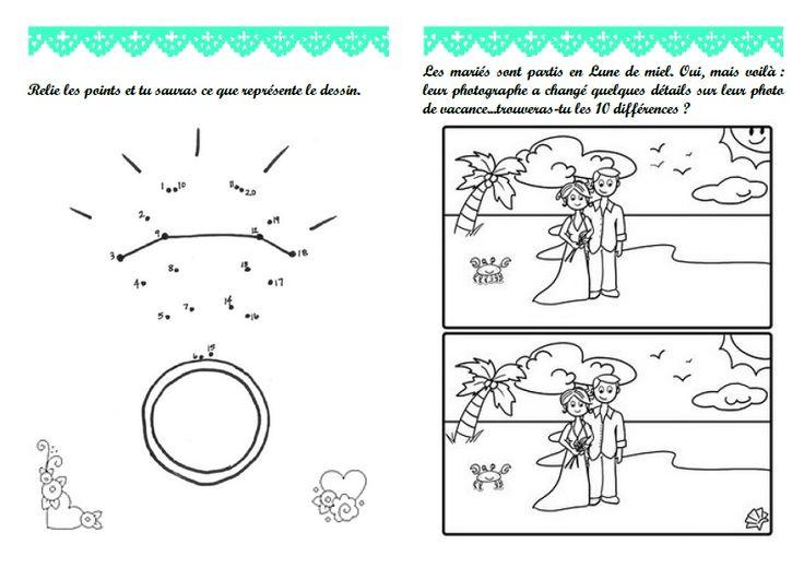 Livret de jeux activités mariage - home made (7/10 ans) filles en rose et pages garçons en bleu