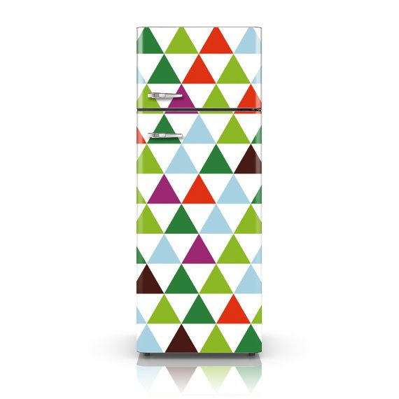 Fridge Wrap - Bright Triangles - Self-Adhesive Vinyl Fridge Skin - Customizable Decal  Wanting to redecorate your kitchen but don't know where to start? Your fridge of course! Reclaim that blank space and use it as your canvas. Make your fridge cool even from the outside!  Would you like your business name, logo or anything else incorporated into the design or do you need a custom design altogether for your shop, restaurant or any other business? No problem. Message me your ideas and ill get…