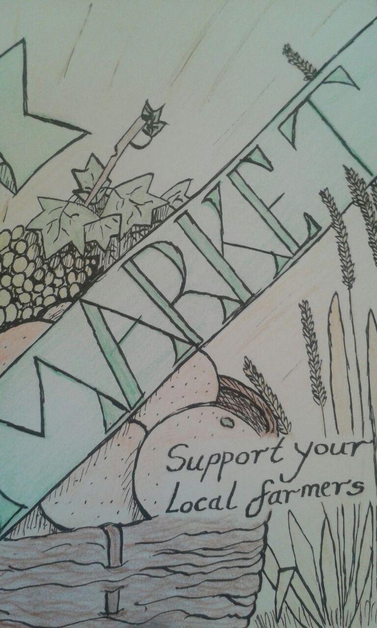 farmers market pencil&ink @ashleycoleart