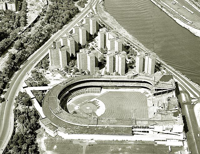 Cool 1960's aerial shot of the old Polo Grounds in Harlem