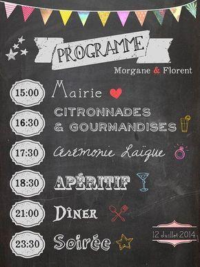 Programme de Mariage - Chalkboard wedding program sur Etsy, 15,00 €