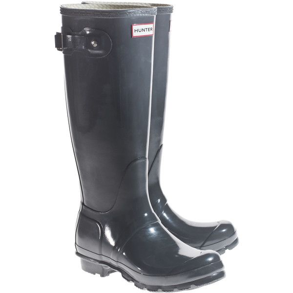 HUNTER Tall Dark Grey Wellies with decorative buckle and other apparel, accessories and trends. Browse and shop 14 related looks.