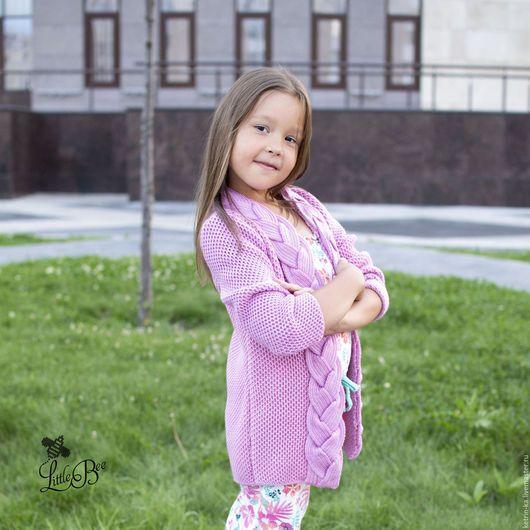 Одежда для девочек, ручной работы. Детский кардиган с косой. Little Bee studio Екатерина. Интернет-магазин Ярмарка Мастеров. Однотонный