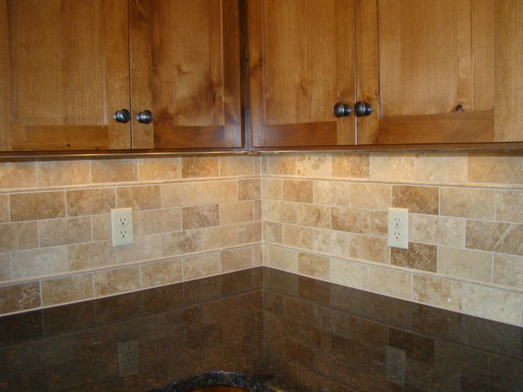 Backsplash tile subway travertine mom and tim 39 s new for Lowes backsplash