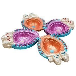 Handcrafted Shubh Diwali Pooja Diya Set.