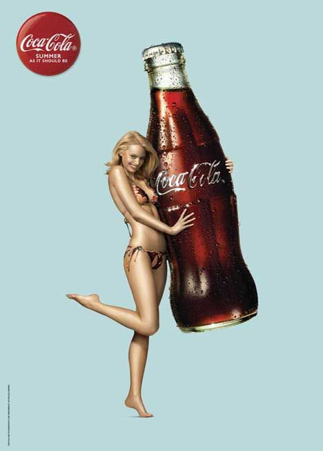 Coca Cola is promoting Summer as it should be in a series of print advertisements featuring bikini clad women clutching surf-board-size bottles of Coke. The advertising campaign is linked with a broader campaign linking Coke cafes, surf cams and beach presence around New Zealand this summer,