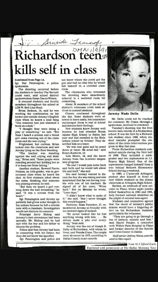 "The newspaper clipping about the tragic suicide of Jeremy Wade Delle, which inspired Pearl Jam's song, ""Jeremy""."