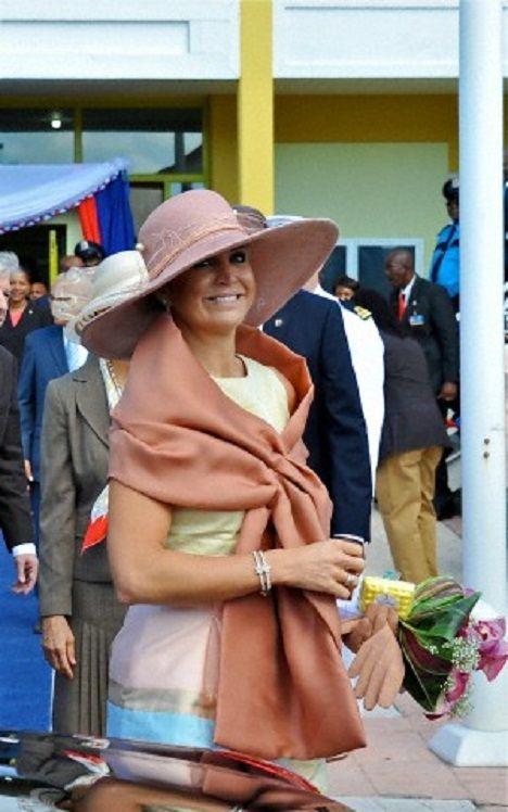 Queen Maxima vistis the Caribbean in Philipsburg, St. Maarten
